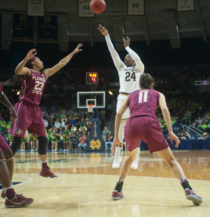 Irish sophomore guard Arike Ogunbowale takes a shot in Notre Dame's 79-61 victory over Florida State on Feb. 26 at Purcell Pavilion