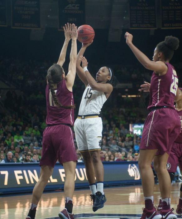Irish senior guard Lindsay Allen pulls up for a floater during Notre Dame's 79-61 victory over Florida State on Feb. 26 at Purcell Pavilion. Allen holds the ACC record for most assists in a season.