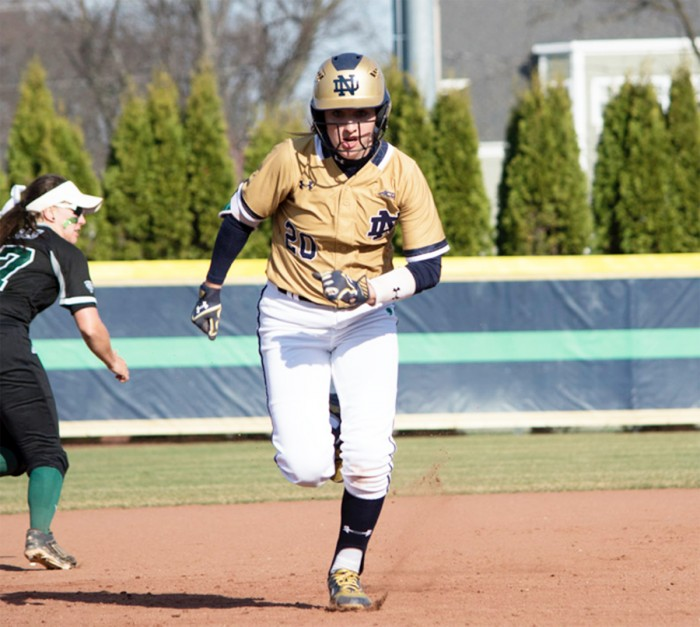 Irish junior infielder Morgan Reed sprints to third base during Notre Dame's 10-2 win over Eastern Michigan on March 22 at Melissa Cook Stadium.