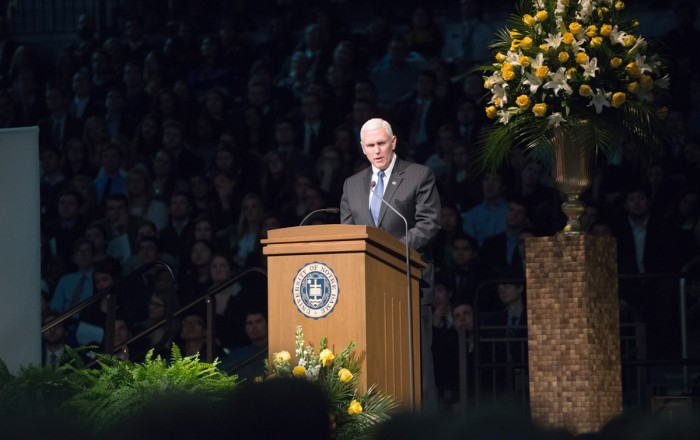 Mike Pence speaks in Purcell Pavilion at a 2015 memorial service for Fr. Theodore Hesburgh, who served as the University's 15th president. Pence will address students at this year's May 21st commencement.
