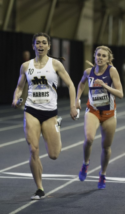 Irish junior Jessica Harris sprints to the finish line during the distance medley relay at the ACC indoor championships on Feb. 23.