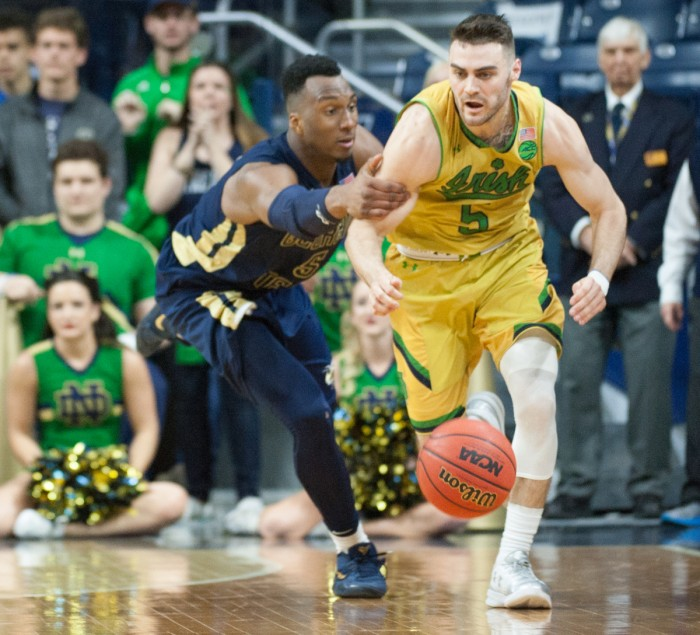 Irish junior guard Matt Farrell brushes past a defender during Notre Dame's 64-60 win over Georgia Tech on Feb. 26 at Purcell Pavilion.