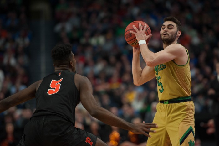 Irish junior guard Matt Farrell looks to pass during Notre Dame's 60-58 win over Princeton on Thursday at Buffalo, New York's KeyBank Center.