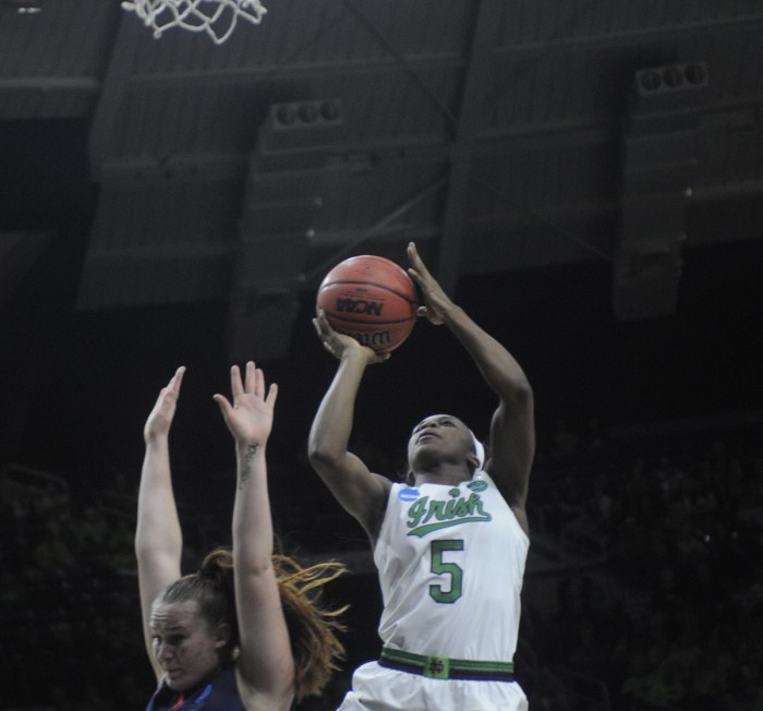 Irish freshman guard Jackie Young goes up for a layup during Notre Dame's 79-49 win over Robert Morris on Friday at Purcell Pavilion.