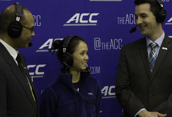 Notre Dame senior fencer Lee Kiefer is interviewed at the ACC Championships at Castellan Family Fencing Center on Feb. 28, 2016.