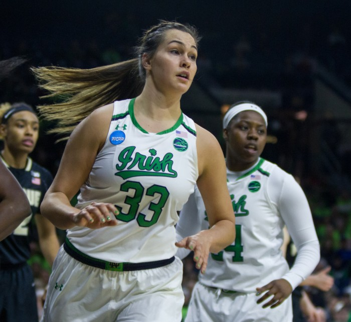 Irish junior forward Kathryn Westbeld looks for a pass during Notre Dame's 88-82 win over Purdue on Sunday at Purcell Pavilion.