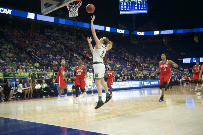 Irish sophomore guard Marina Mabrey shoots the ball during Notre Dame's 99-76 win over Ohio State on Friday at Rupp Arena in Lexington, Kentucky.