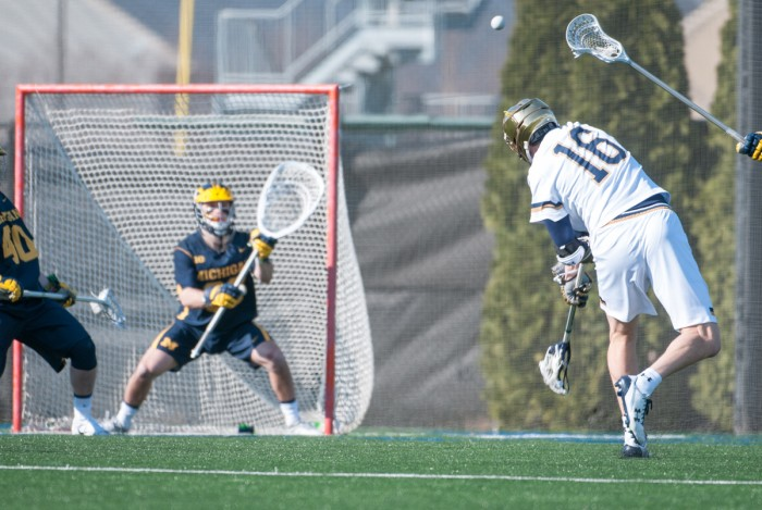 Senior Sergio Perkovic rips a shot during Notre Dame's 16-5 win over Michigan on Feb. 26 at Arlotta Stadium.