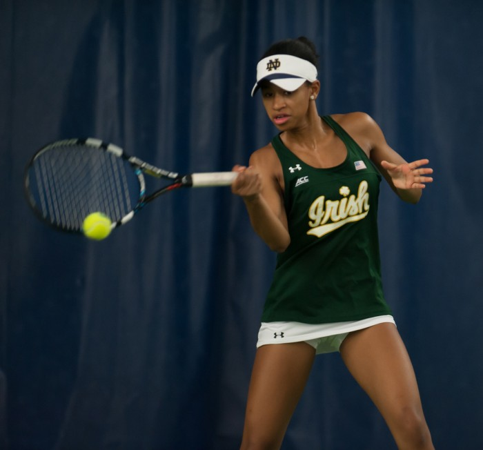 Irish freshman Zoe Spence hits a forehand during Notre Dame's 5-2 win over Purdue on Feb. 22 at Eck Tennis Pavilion.