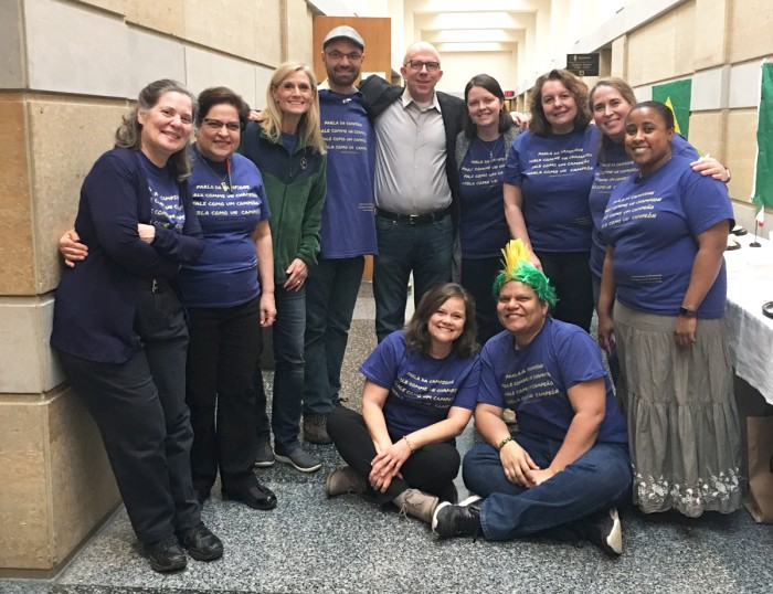 Faculty pose in t-shirts commemorating the first-ever Romance Language Week, which is designed to promote the study of French, Spanish, Italian and Portuguese through a variety of events.