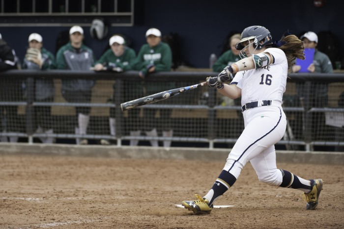 Irish sophomore infielder Caitlyn Brooks swings at a pitch during Notre Dame's 1-0 win over Eastern Michigan on March 29 at Melissa Cook Stadium.