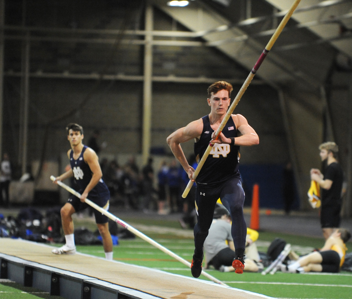 Irish senior pole vaulter Nathan Richartz approaches a jump during the Blue and Gold Invitational on Dec. 2 at Loftus Sports Center. Richartz finished in eighth at the Texas Relays on Saturday.
