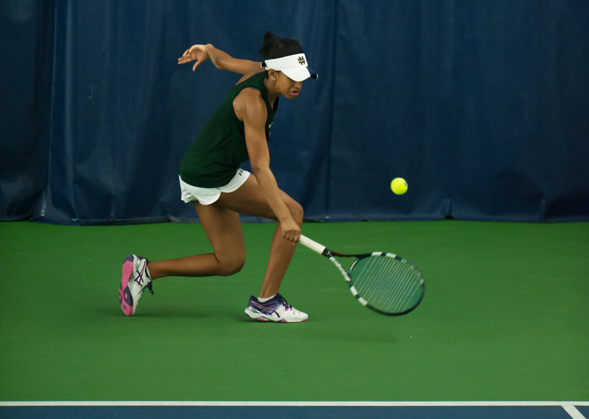 Irish freshman Zoe Spence returns the ball during Notre Dame's 5-2 win over Purdue on Feb. 22 at Eck Tennis Pavilion.
