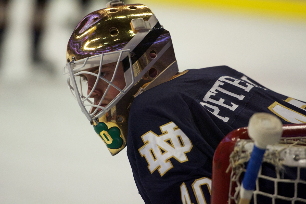 Irish junior goaltender Cal Peterson stands in the net during Notre Dame's 6-1 loss to Denver on Thursday at the United Center in Chicago. Peterson had 36 saves in the game, which ended Notre Dame's season.