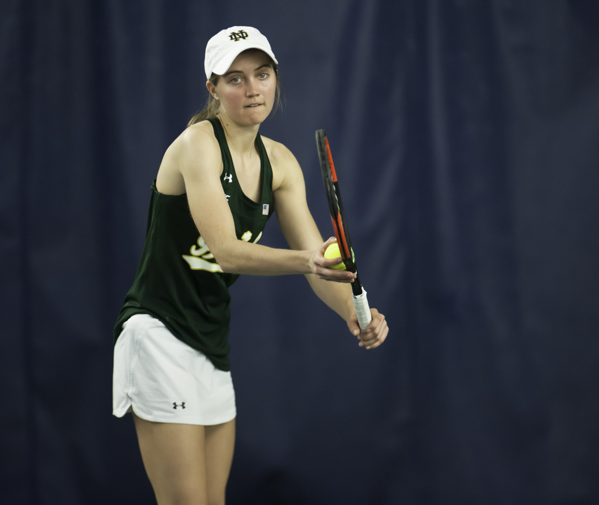 Irish senior Mary Closs prepares to serve the ball during Notre Dame's 5-2 win over Purdue on Feb. 22 at Eck Tennis Pavilion.