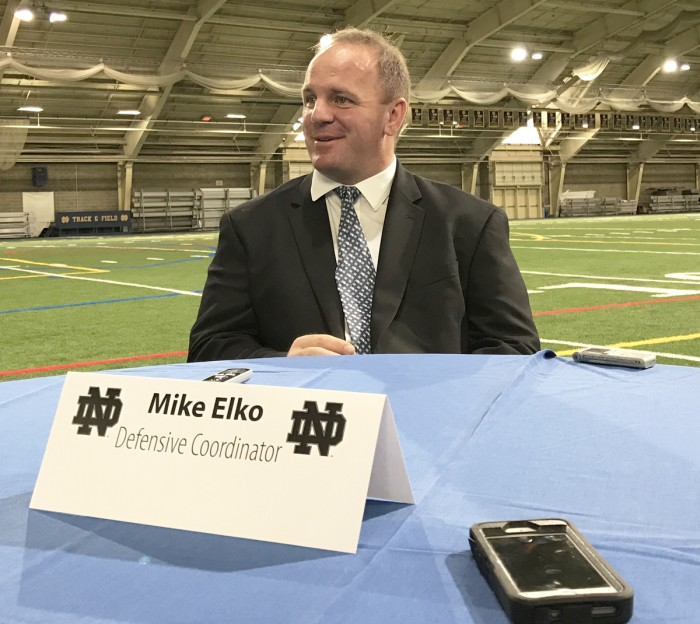 Mike Elko speaks to the media after being introduced as Notre Dame's new defensive coordinator in Loftus Sports Complex on Jan. 30. Elko previously served as the defensive  coordinator at Wake Forest for three seasons from 2014-2016 before joining the Irish coaching staff. In 2016, his defense at Wake Forest ranked 20th nationally in scoring defense.
