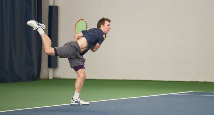 Irish freshman Matt Gamble serves the ball during Notre Dame's 7-0 win over Boston College on  Feb. 11, at Eck Tennis Pavilion. Gamble lost in both of his singles matches this past weekend.