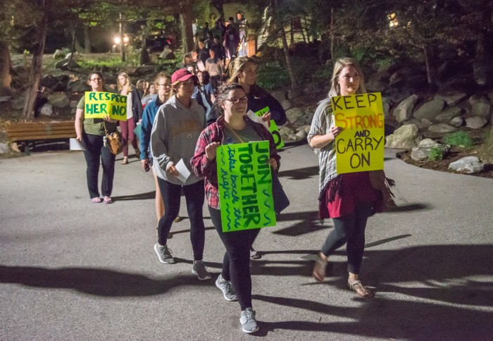 Students from Notre Dame and Saint Mary's complete a march throughout the College and University campuses at the Grotto.