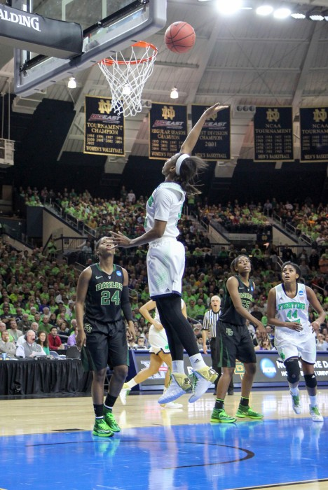 Former Irish guard Jewell Loyd goes up for a shot during Notre Dame's 88-69 win over Baylor in the Elite Eight on March 31, 2014, at Purcell Pavilion. Loyd currently plays for the Seattle Storm.