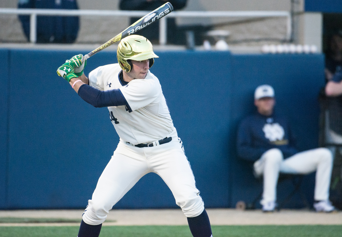 Irish sophomore outfielder Matt Vierling readies to swing during Notre Dame's 8-3 win over Toledo on April 12.