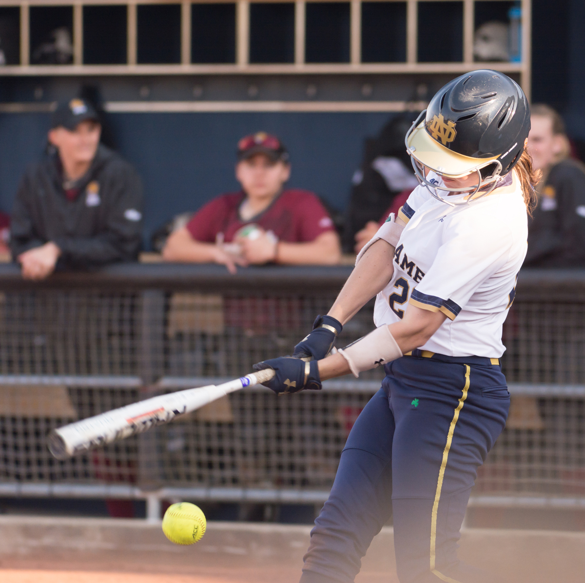 Irish junior Morgan Reed follows through on a swing during Notre Dame's 13-4 win over IUPUI on Apr. 12 at Melissa Cook Stadium.