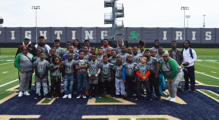"The North Lawndale Eagles Football Program participate in a ""Play Like a Champion Today"" sponsored trip to the Blue and Gold Game at Notre Dame on April 22."