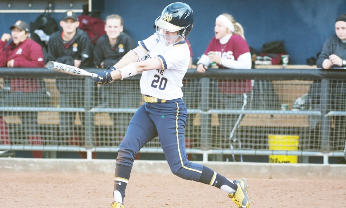 Irish junior shortstop Morgan Reed swings at a pitch during Notre Dame's 13-4 win over IUPUI on April 12 at Melissa Cook Stadium.