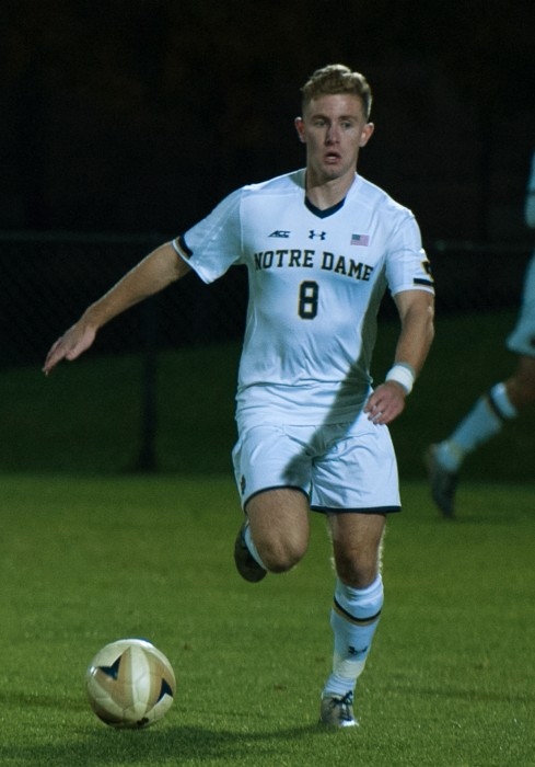 Irish senior forward dribbles across the field during Notre Dame's 1-0 loss to Michigan State on Oct. 25 at Alumni Stadium.