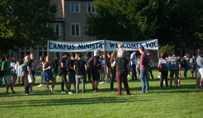 Students attend an introduction to Notre Dame's faith-based groups and clubs hosted by Campus Ministry on South Quad on Wednesday.