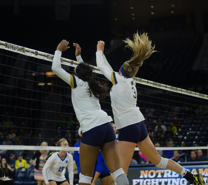 Irish senior middle blocker Sam Fry goes up for a block during Notre Dame's 3-1 victory over Duke on Sept. 30, 2016, at Purcell Pavilion. Fry and senior Caroline Holt were named to the preseason All-ACC team.