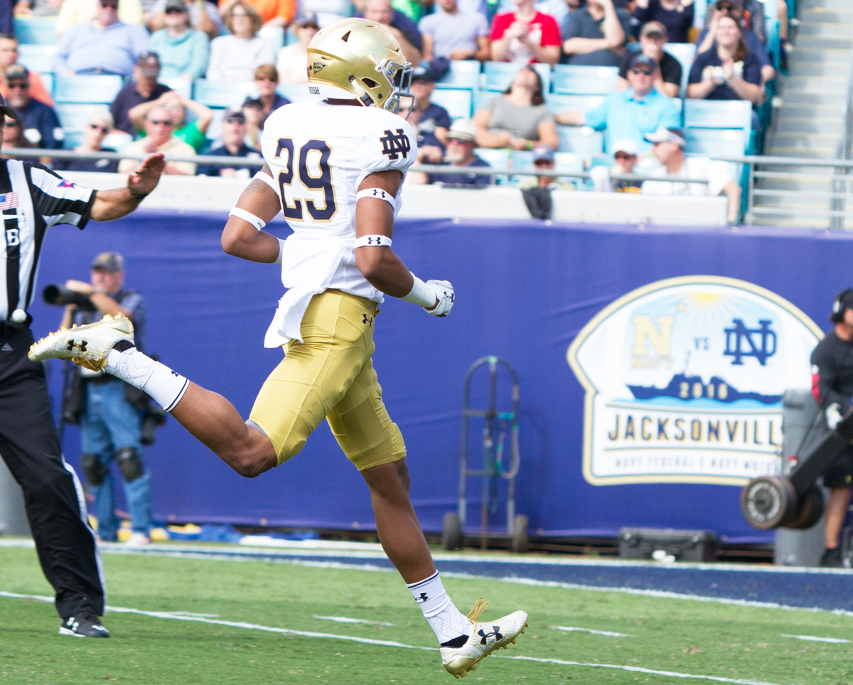 Irish sophomore receiver Kevin Stepherson runs toward the endzone during Notre Dame's 28-27 loss to Navy on Nov. 5 at EverBank Field in Jacksonville, Florida.