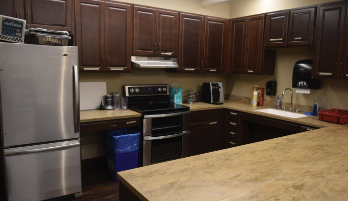 "Each floor in the hall hosts a kitchen, the result of a year-long remodeling process of the dorm, during which residents lived in Pangborn Hall, the current ""swing dorm"" for halls undergoing renovations."