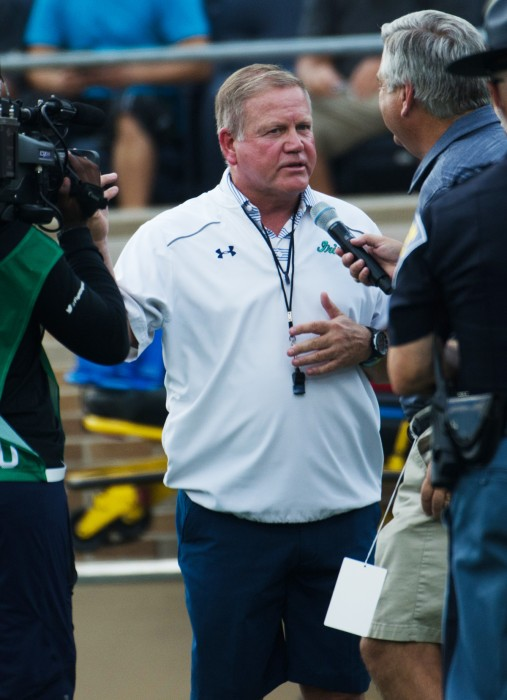 WEB 20170820, 20170820, Chris Collins, Football Scrimmage, New and Gold game, Notre Dame Stadium