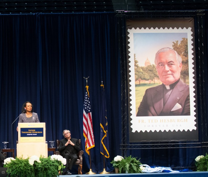 Former Secretary of State Condoleezza Rice speaks at a ceremony unveiling University President Emeritus Fr. Theodore Hesburgh's stamp on Friday in the Purcell Pavillion.