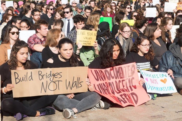 Students gathered in front of the Main Building on God Quad last fall to demonstrate their support for DACA students at Notre Dame.