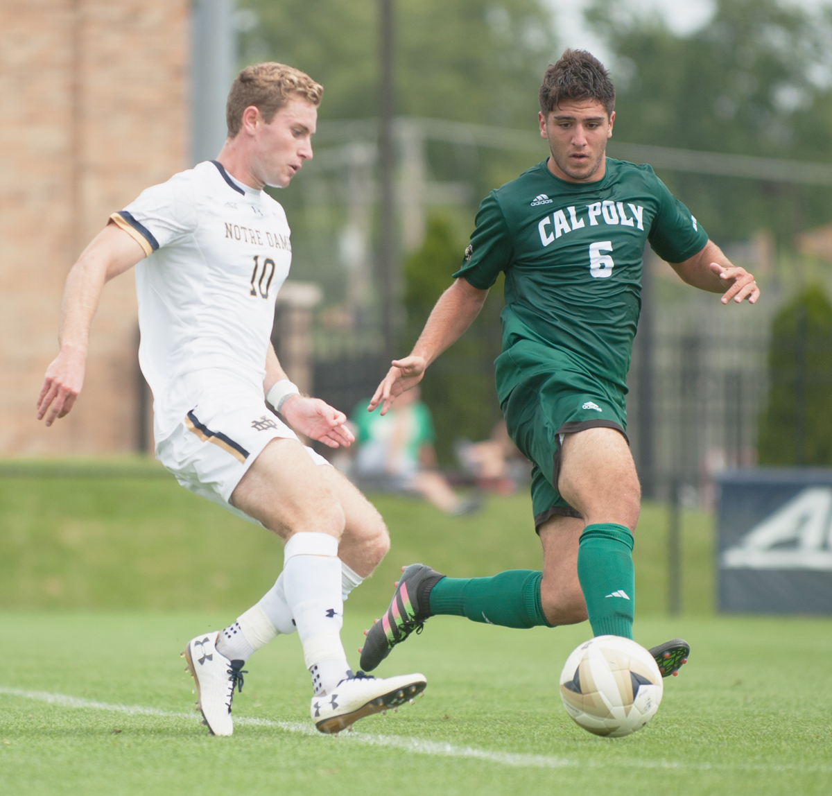 Irish senior forward Jon Gallagher takes on a Cal Poly opponent during Notre Dame's Mike Berticelli Memorial Tournament on Aug. 25 at Alumni Stadium. The Irish won 2-1 in double overtime.