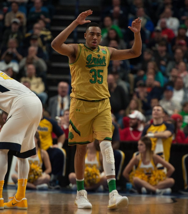 Irish senior forward Bonzie Colson pumps up the crowd during Notre Dame's 83-71 loss to West Virginia on March 18.