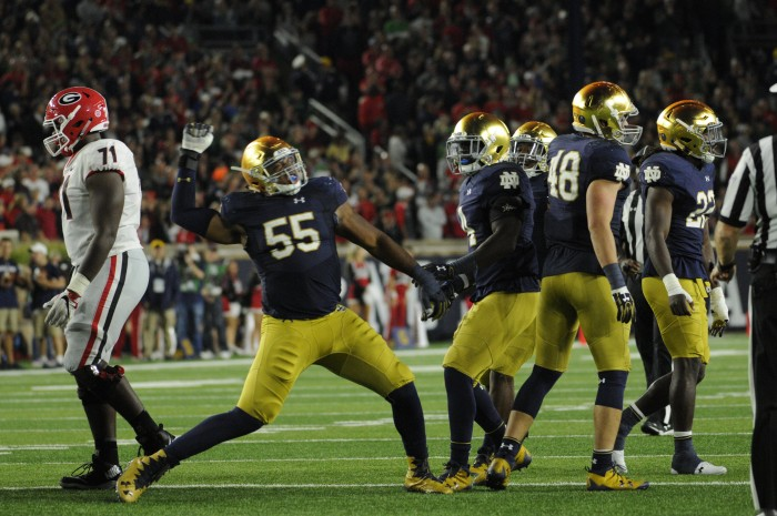 Irish senior defensive lineman Jonathan Bonner celebrates after a sack during Notre Dame's 20-19 loss to Georgia on Saturday at Notre Dame Stadium.