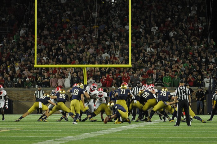 Irish junior Justin Yoon kicks a field goal during Notre Dame's 20-19 loss to Georgia on Saturday at Notre Dame Stadium. Yoon was 4-for-4 on the day kicking.