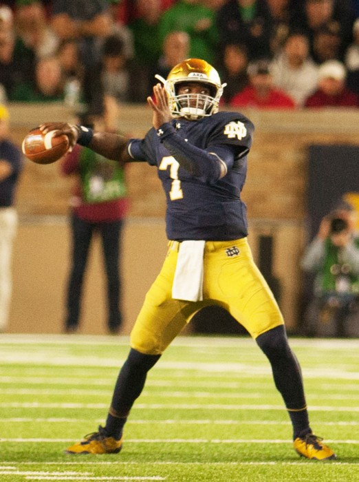 Irish junior quarterback Brandon Wimbush winds up for a pass during Notre Dame's 20-19 loss to Georgia on Saturday at Notre Dame Stadium. Wimbush completed 20 passes for 210 yards in the game.