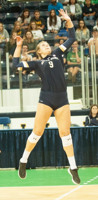 Irish junior outside hitter Rebecca Nunge goes up for a kill during Notre Dame's 3-1 win over Valparaiso on Aug. 25 at Compton Family Ice Arena.