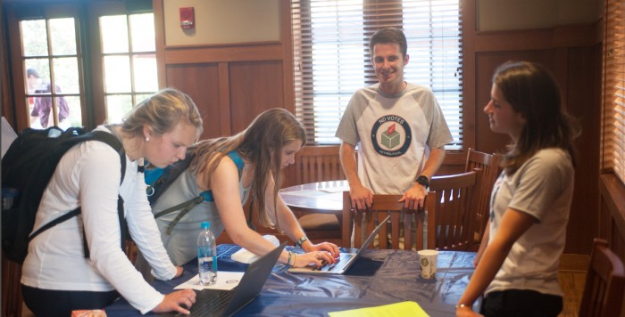 NDVotes representatives help students sign up for TurboVote, an online platform that facilitates the voter registration and absentee voting processes. NDVotes, a non-partisan group, seeks to foster educated voting.