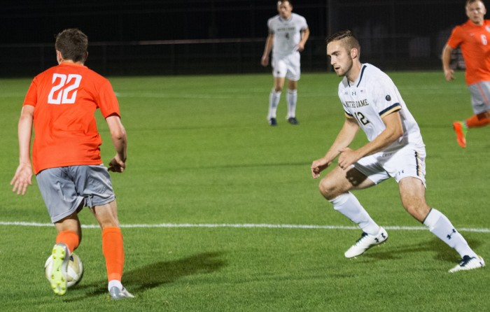 Irish senior midfielder Kyle Dedrick attempts to cut off an opponent during Notre Dame's 2-1 win over Bowling Green on Sept. 19 at Alumni Stadium. Dedrick took one shot during the game.