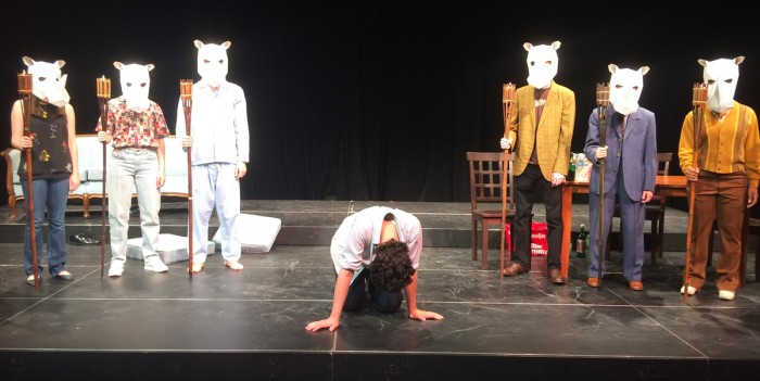"""Courtesy of Abbey Schnell Cast members rehearse """"Rhinoceros"""", which will be performed at DeBartolo Performing Arts Center from Sept. 28 to Oct. 8. The play deals with anti-fascist themes"""