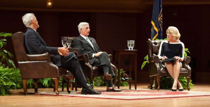 Former White House chiefs of staff Denis McDonough, left, and Andrew Card, right, speak at a lecture Wednesday night in DeBartolo Performing Arts Center. The two discussed presidential decision making and American foreign policy.