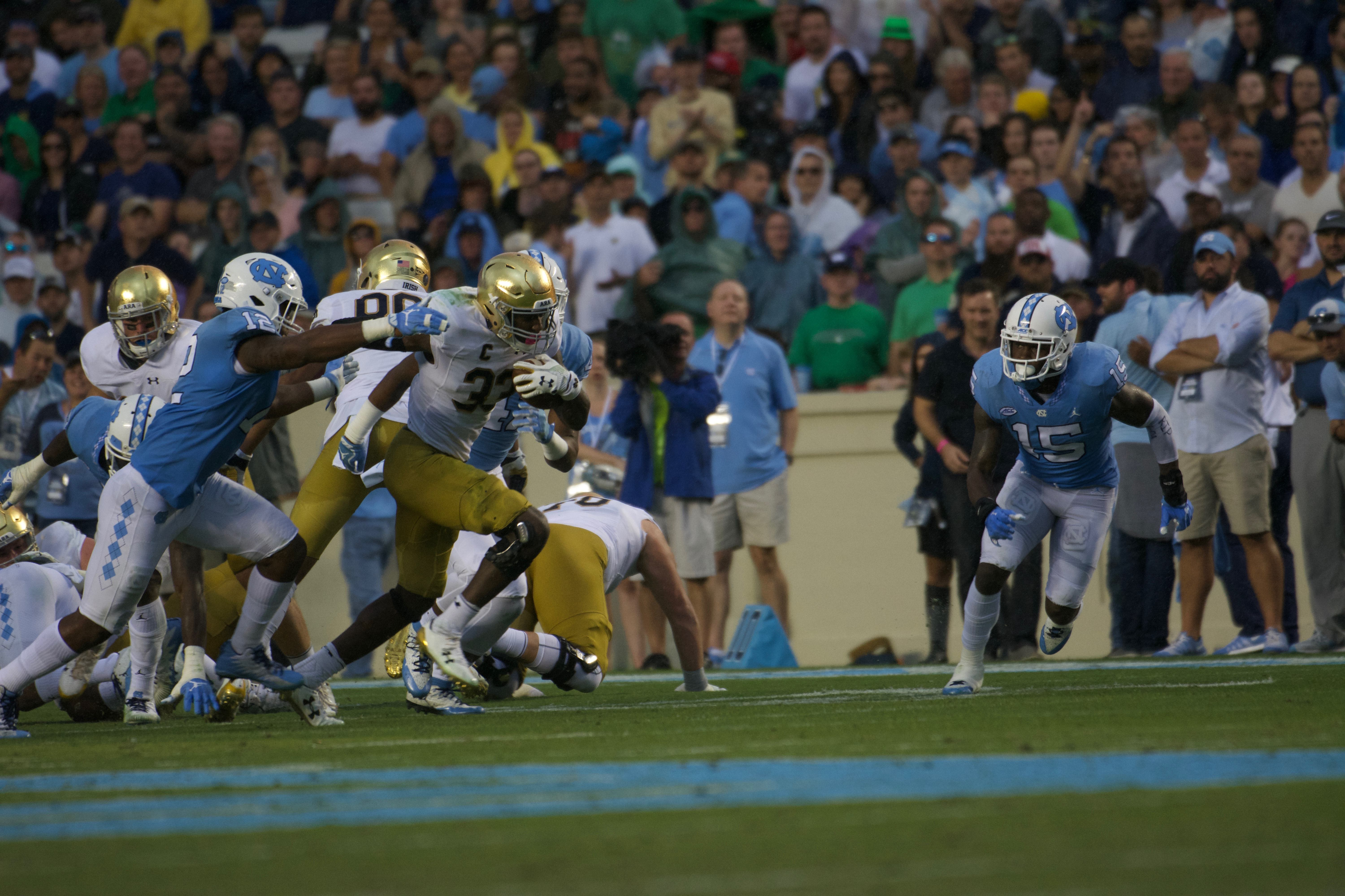 Irish junior running back Josh Adams breaks away from a defender during Notre Dame's 33-10 win over North Carolina on Saturday at Kenan Memorial Stadium in Chapel Hill, North Carolina.