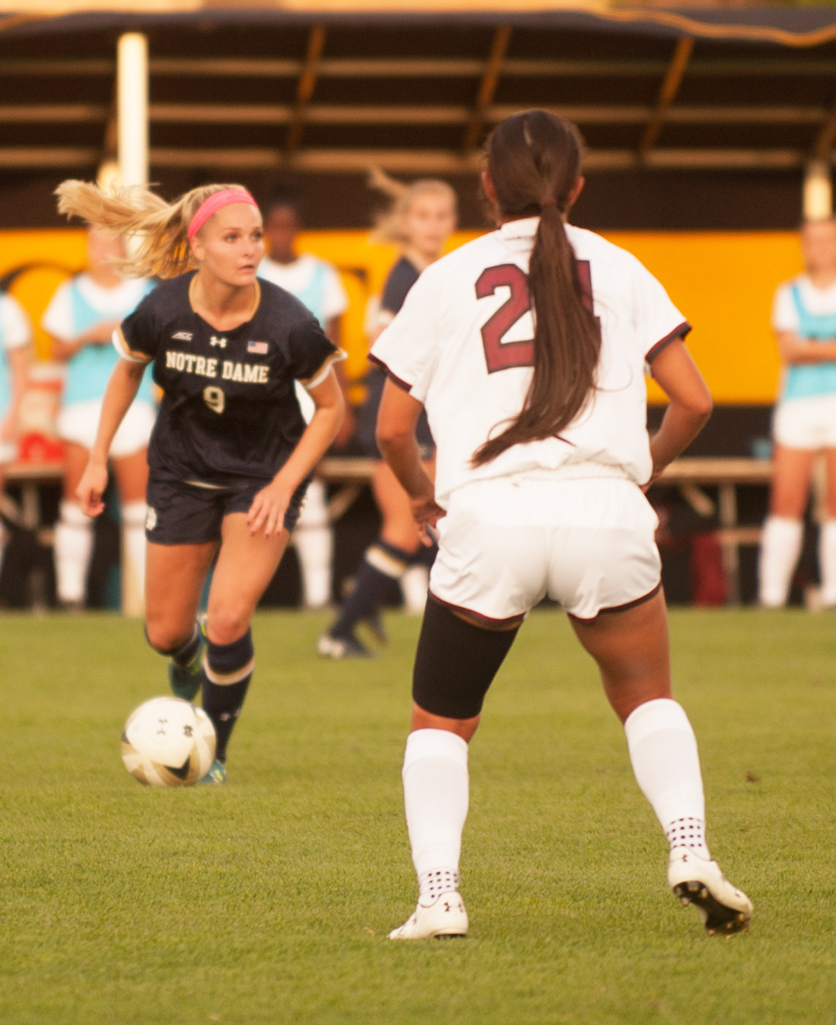 Irish sophomore forward Natalie Jacobs surveys the field looking to pass during Notre Dame's 1-0 loss to South Carolina on Sept. 1 at Alumni Stadium.