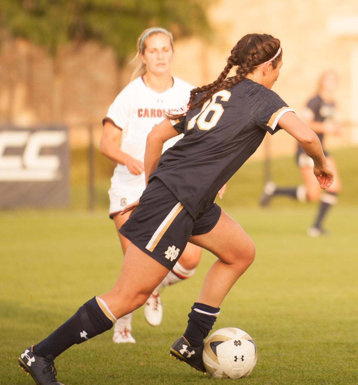 Irish graduate student midfielder Sandra Yu dribbles up the field during Notre Dame's 1-0 overtime loss to South Carolina on Sept. 1 at Alumni Stadium.