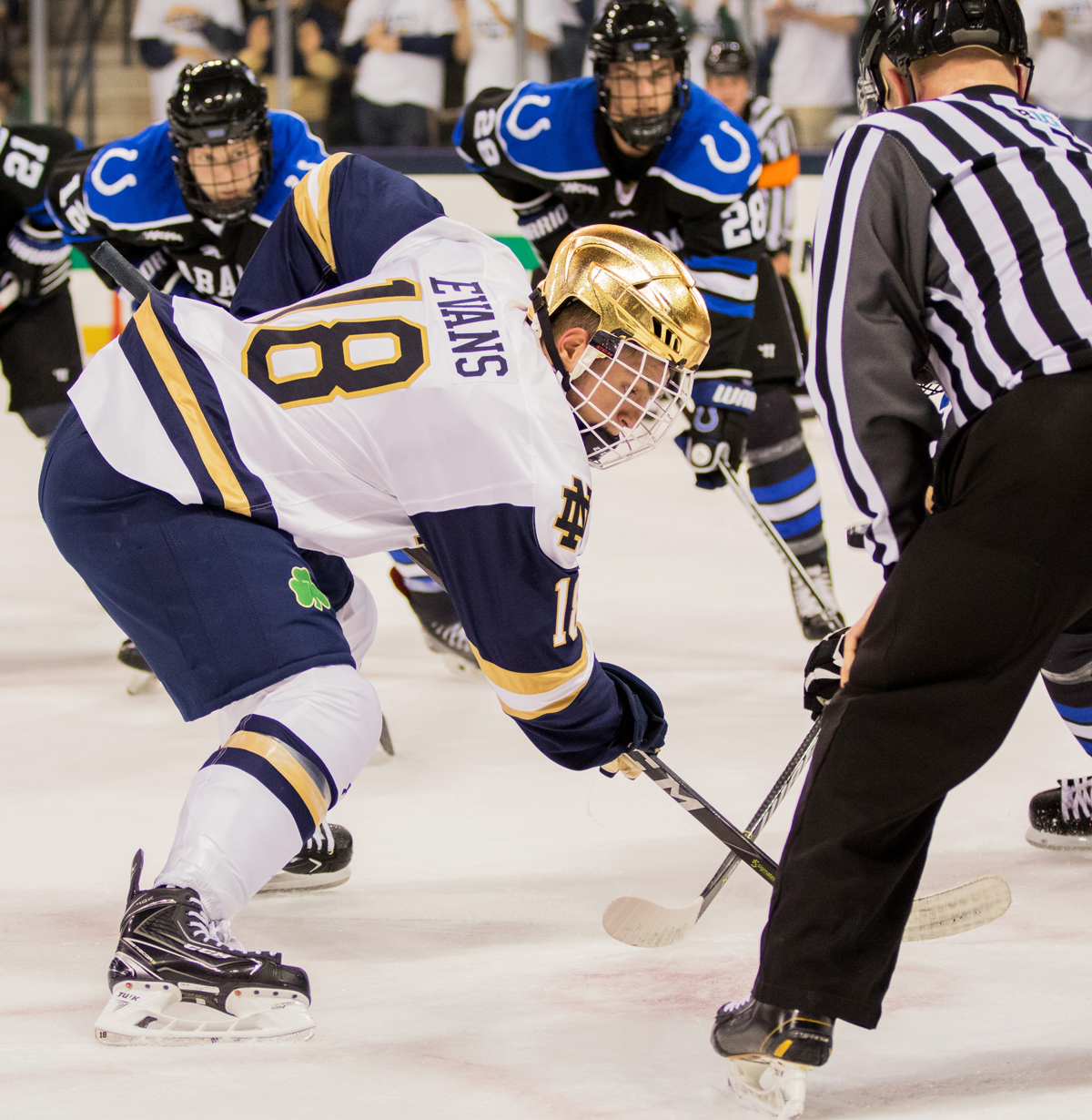 Irish senior forward Jake Evans prepares for the puck to drop during a faceoff in Notre Dame's 5-3 win over Alabama-Huntsville on Friday.