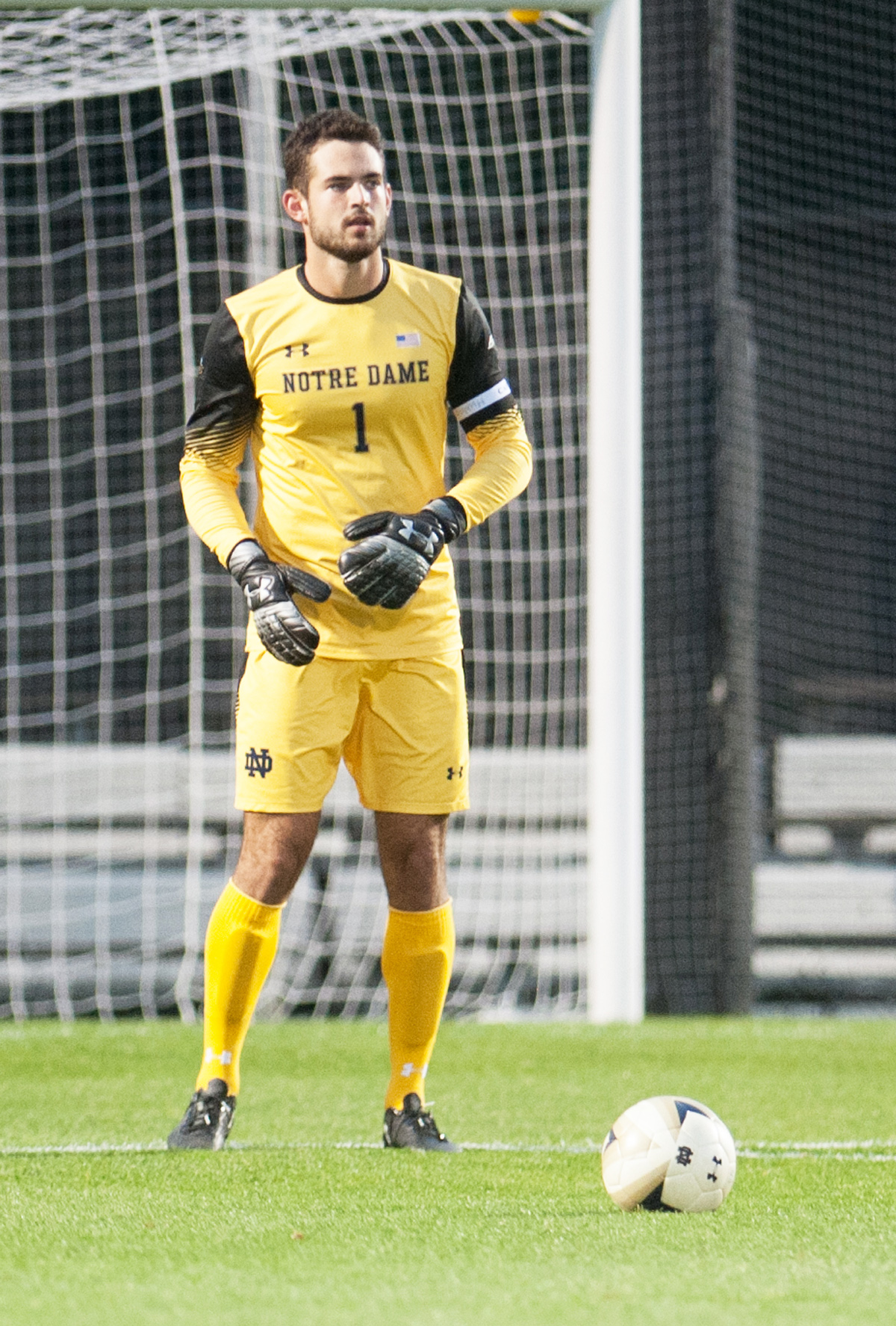 Irish graduate student goalie Chris Hubbard readies to clear the ball during Notre Dame's 2-1 overtime win over Northwestern on Tuesday at Alumni Stadium.